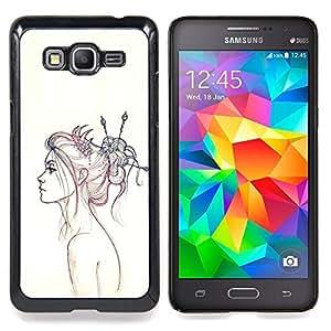 """Qstar Arte & diseño plástico duro Fundas Cover Cubre Hard Case Cover para Samsung Galaxy Grand Prime G530H / DS (Neon Girl Dibujo"""")"""