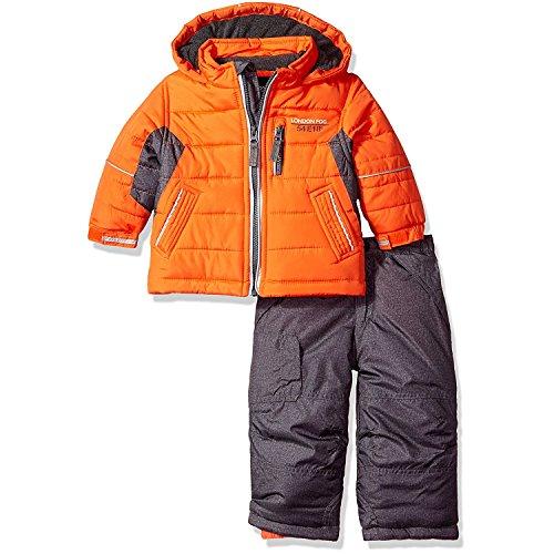 London Fog Baby Boys 2-Piece Snow Pant and Jacket Snowsuit, Orange, 12M