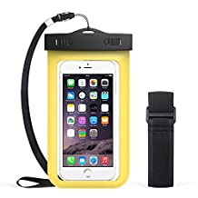 """QIANXIANG Universal Premium Waterproof Phone Case,Cell Phone Dry Bag Pouch with Armband and Neck Strap for iPhone 7 Plus,6S Plus,7,6S,6,5S,Samsung Galaxy S6,Note 5,4,HTC,Sony Nokia Motorola 5.5"""" diagonal【Yellow】"""