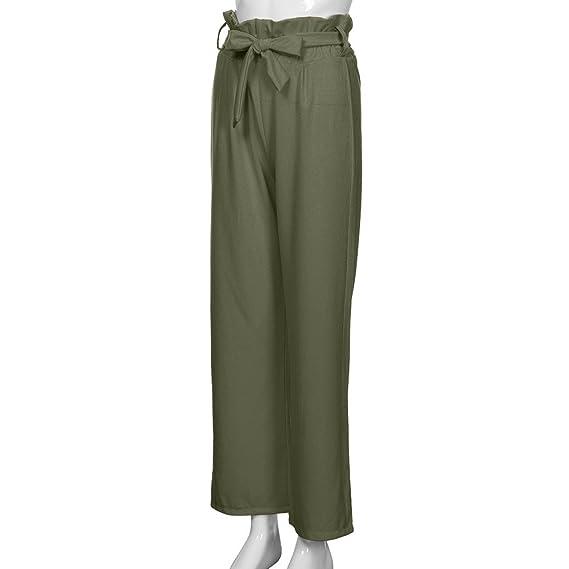 3564cd2e5b2 Kumike Summer Women Pants Casual High Waist Speaker Wide Leg Straps Lotus  Leaf Drawstring Full Length Trousers at Amazon Women s Clothing store