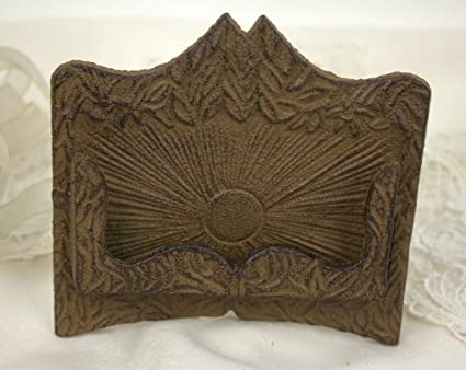 cast iron business card holder fleur metal a frame stand rustic brown - Rustic Business Cards
