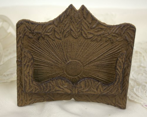 UPC 702452623935, Cast Iron Business Card Holder Fleur Metal A Frame Stand Rustic Brown