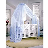 Sealike Cute Baby Mosquito Net Nursery Toddler Bed Crib Canopy Netting Hanging Ring with Stylus (Blue)