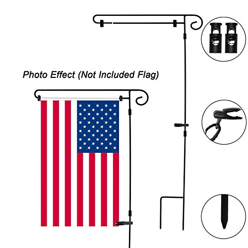 (HOOSUN Garden Flag Stand, Graden Flag Holder Easy to Install Strong and Sturdy wrought iron Pole 36