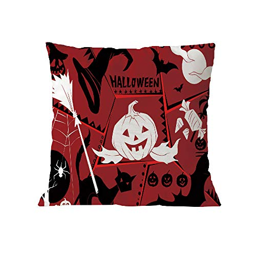 Halloween Pillow Case Pgojuni Throw Pillow Cover Cushion Polyester Cover Pillow Case Home Decor 1pc (45cm X 45cm) (I) by Pgojuni_Pillowcases (Image #1)