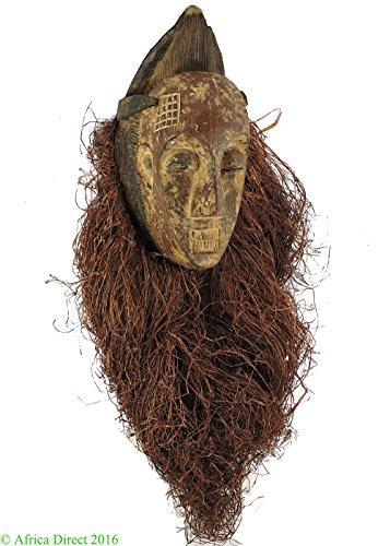 African Maiden Wall Decor - Punu Mask Maiden Spirit with Headdress Gabon African Art