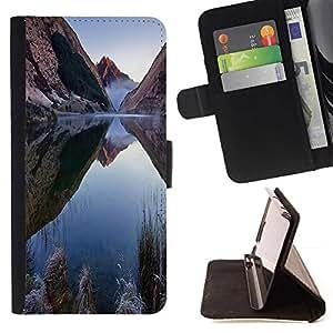 Momo Phone Case / Flip Funda de Cuero Case Cover - Naturaleza Mountain Lake - Samsung Galaxy J1 J100
