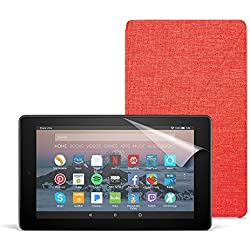 All-New Fire 7 Essentials Bundle with Fire 7 Tablet (8 GB, Black), Amazon Cover (Punch Red) and Screen Protector (Clear)