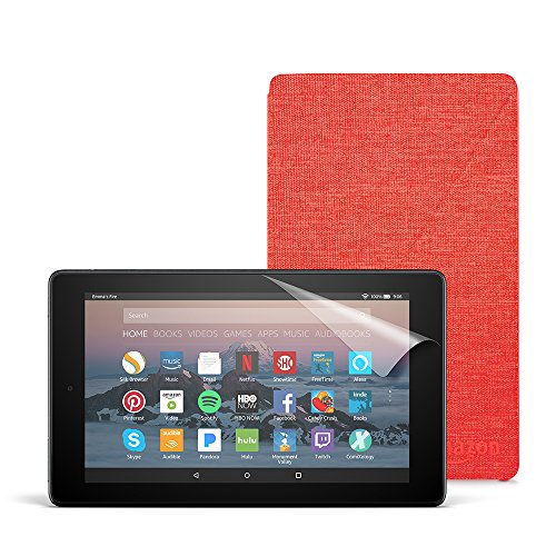 Fire 7 Essentials Bundle with Fire 7 Tablet (8 GB, Black), Amazon Cover (Punch Red) and Screen Protector (Clear)