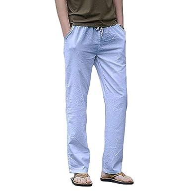 46a255515fe Amazon.com  VICCKI Summer Men s Linen Thin Section Breathable Loose Elastic  Straight Leg Mens Pant  Clothing