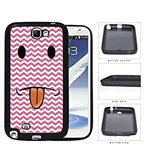 Cute Funny Pink and White Chevron Smiley Face with Tongue Sticking Out Hard Rubber TPU Phone Case Cover Samsung Galaxy Note 2 N7100