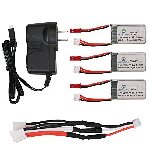 Holy-Stone-3-in-1-Drone-Battery-Charger-plus-3PCs-74V-350mAh-Lipo-Battery-for-RC-Quadcopter-X401H-V2
