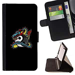 DEVIL CASE - FOR Apple Iphone 5 / 5S - Dragon Tattoo Graffiti Black Yin Yang - Style PU Leather Case Wallet Flip Stand Flap Closure Cover