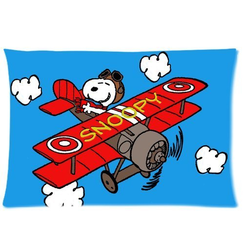 Snoopy Beagle Puppy with Air Plane Custom Personalized Roomy Zippered Pillowcase 30x20 (One Side)