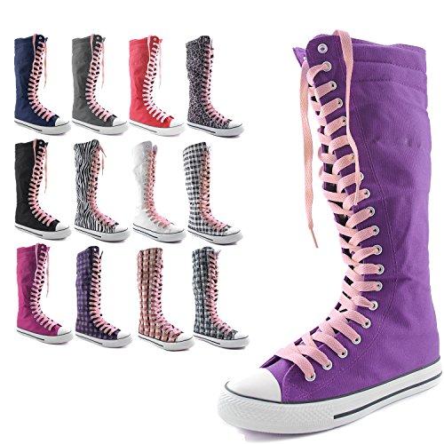 Dailyshoes Tela Donna Stivali Alti Metà Polpaccio Casual Sneaker Punk Flat, Stivali Blu Navy Rosa Chiaro, Pizzo Rosa Chiaro