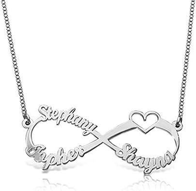 collana infinito 2 o 3 nomi  o cuore ARGENTO 925   LETTER 925 SILVER necklace