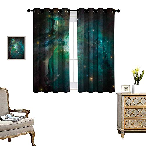 Space Thermal Insulating Blackout Curtain Majestic Orion Nebula Dust Cloud Celestial Energy Plasma Astronomical Object Picture Patterned Drape for Glass Door W55 x L45 Teal Green