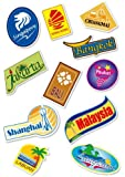 World Travel Locations Suitcase Stickers - 11 von Gepäck Aufkleber Labels Set