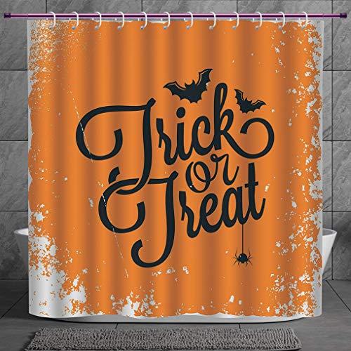 SCOCICI Decorative Shower Curtain 2.0 [ Vintage Halloween,Trick or Treat Halloween Theme Celebration Image Bats Tainted Backdrop Decorative,Orange Black ] Bathroom Accessories with Hooks