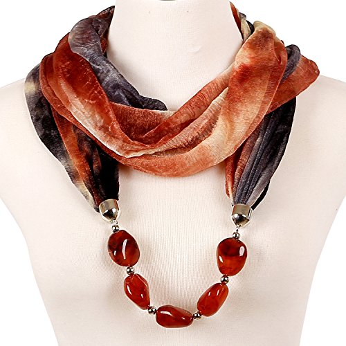 LERDU Gift Idea Infinity Scarf Necklace with Jewelry Marble Stone for Women by LERDU