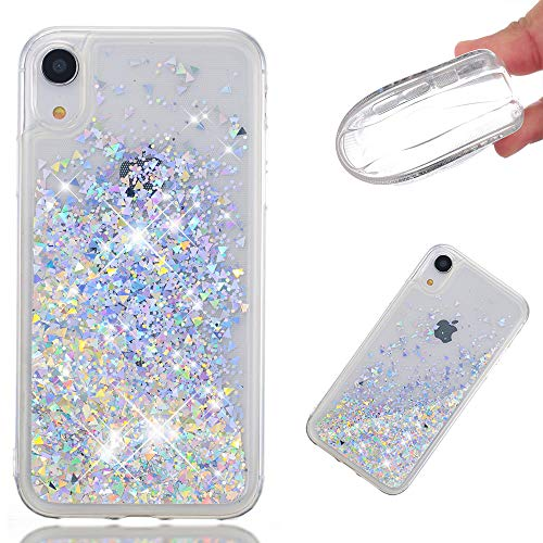 iPhone XR Case, ZERMU Ultra Thin Fashion Transparent Back Bling Quicksand Flowing Luxury Glitter Durable Waterfall Fusion Moving Liquid Sparkling TPU Bumper Case iPhone XR 6.1 inch 2018
