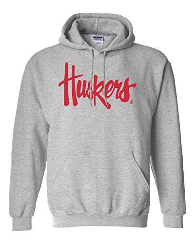 CornBorn Nebraska Legacy Script Huskers Hooded Sweatshirt - Gray - L