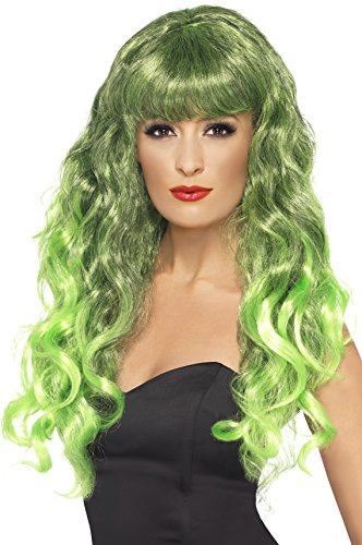 Green Witch Costume Uk (Smiffy's Women's Long Curly Wig in Green and Black with Bangs, One Size, Siren Wig, 5020570422625)