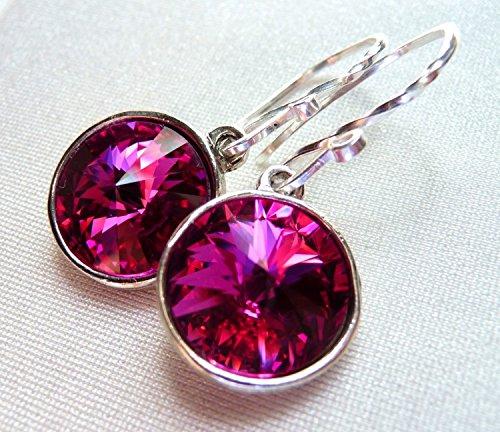 3afd37dc5 Amazon.com: Magenta Fuchsia Swarovski Crystal Earrings, Hot Pink Rivoli  Teardrop Earrings, Sterling Silver: Handmade