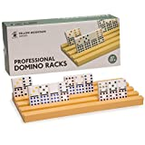 Yellow Mountain Imports Professional Domino Racks/ Trays (Set of 4)- Fits Perfectly for Professional Size Dominoes 2' x 1' x 3/8' Thick (50mm x 25mm x 9.5mm) - Dominos NOT Included