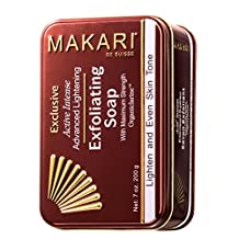 Makari Exclusive 7oz. Skin Lightening & Exfoliating Bar Soap with Organiclarine™ – Advanced Active Whitening Treatment for Dark Spots, Acne Scars, Sun Patches, Stretch Marks & Hyperpigmentation
