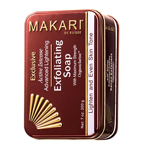 Makari Exclusive 7oz. Skin Lightening & Exfoliating Bar Soap with Organiclarine – Advanced Active Whitening Treatment for Dark Spots, Acne Scars, Sun Patches, Stretch Marks & Hyperpigmentation ()