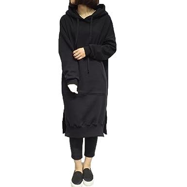 df93608e60d Binglinghua® Women s Long Sleeve Loose Casual Plus Sweatshirt Hoodies Long  Maxi Dress (Black