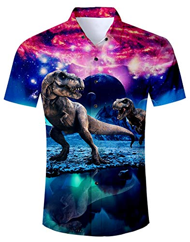 - Fanient Mens Button Down Shirt White Boys Summer Red Button Down Shirt Men 3D Galaxy Dinosaur Tee Shirt Men Cool Graphic Aloha Shirt Medium