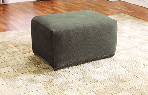 5544 Stretch Pique Oversized Ottoman Slipcover, Taupe (Sofa Loveseat Chair Ottoman)