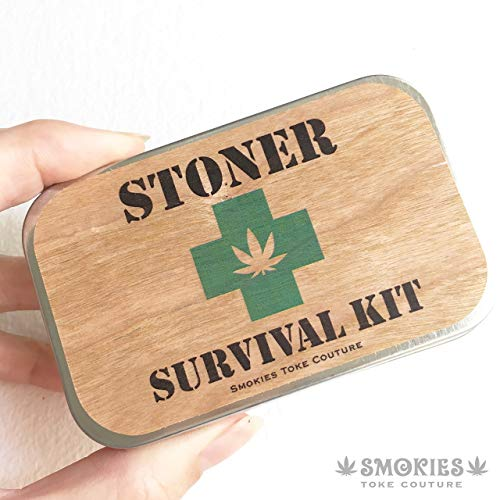 (STONER SURVIVAL KIT, stash tin, wood, weed tin, stash box, first aid kit, cigarette case)