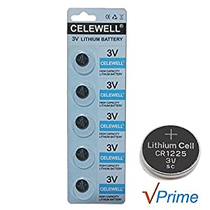 CELEWELL 5 Pack CR1225 3V Lithium Battery for Thermometer Watch