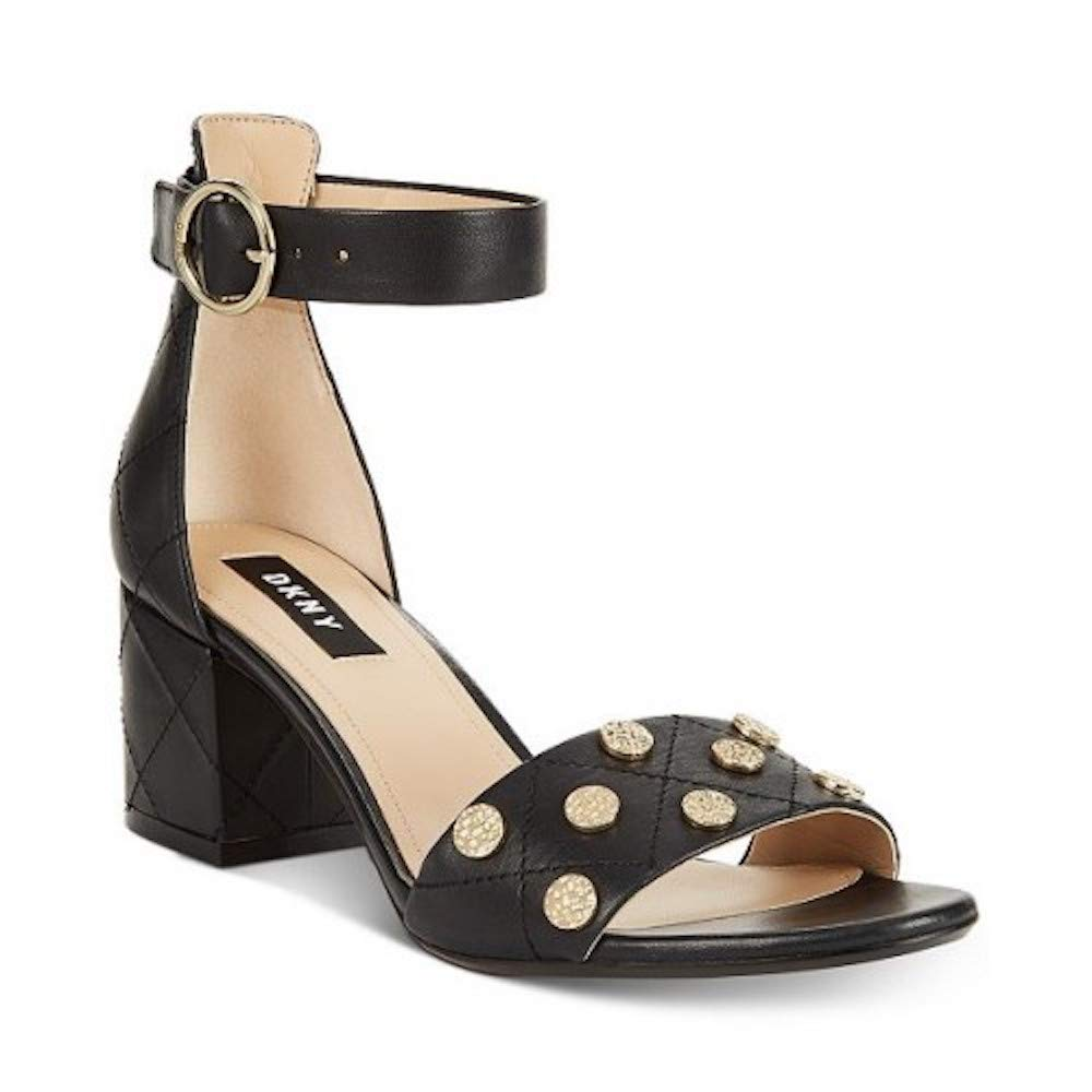 Black DKNY Womens Henli Leather Studded Dress Sandals