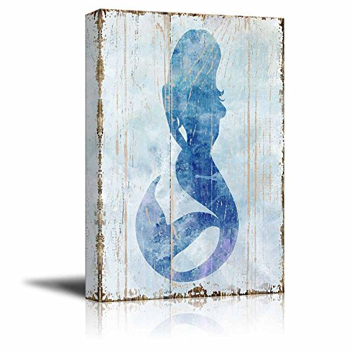 Mermaid on Vintage Background Rustic