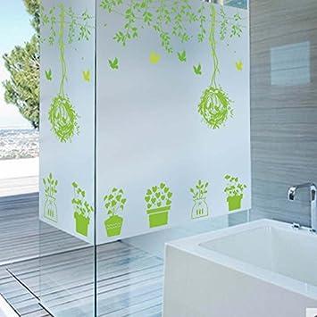 Hongrun Grünes Blatt Blumentopf Büro Schiebetür Badezimmer ...