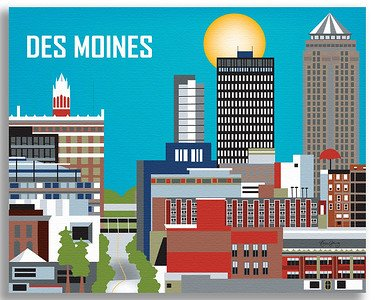 Des Moines, Iowa - Retro Travel Wall Art - Choose from Wrapped Canvas or