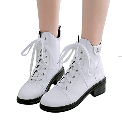 Amazon.com: Fashion Women Round Toe Shoes Wear Resistant Anti-Skid Cross-Tied Square Heel Martin Boots: Arts, Crafts & Sewing