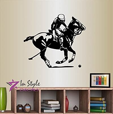 Wall Vinyl Decal Home Decor Art Sticker Polo Player on Horse Sports Living Room Bedroom Room Removable Stylish Mural Unique Design