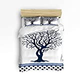 YEHO Art Gallery 4 Piece Duvet Cover Set Include 1 Comforter Cover 1 Bed Sheets 2 Pillow Cases Tree of Life Stripes Polka Dots Dark Blue Design,Washable Luxury Bedding Set,Queen Size