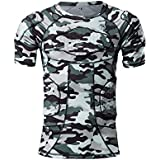 DGXINJUN Padded Compression Shirt and Short Sleeve Protective Shoulder Rib Chest Rib Thighs and Buttocks Protector Guard Camo T-shirt Suit for Football Basketball Paintball Rugby Parkour Extr