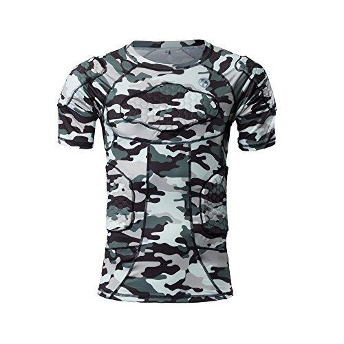 TUOYR Body Safe Guard Padded Compression Sports Short Sleeve Protective Camo T-Shirt Shoulder Rib Chest Protector Suit for Football Basketball Paintball Rugby Parkour Extreme Exercise ()