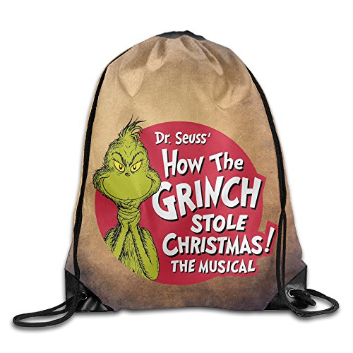 Dr Seuss Costumes Easy (Drawstring Backpack Bag The Grinch Dr Seuss Santa)