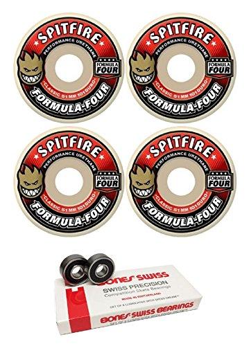 宿観客大騒ぎ51 mm Spitfire Wheels Formula Four ClassicスケートボードWheels with Bones Bearings – 8 mm Bones Swiss Skateboard Bearings – 2アイテムのバンドル