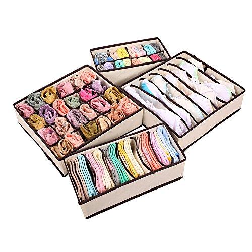 4pcs Cajas de almacenaje para lazos calcetines cortos brasier ropa interior divisor cajón Lidded Closet Home organizador
