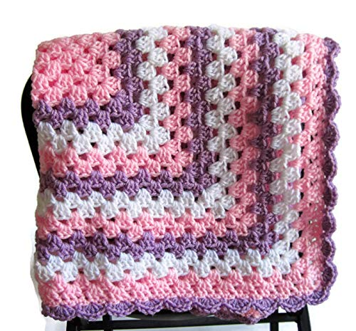 Amazoncom Crocheted Pink Granny Square Baby Blanket Handmade