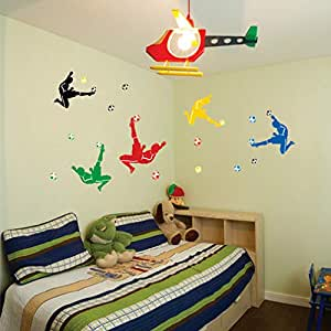 Self-adhesive Removable Break Through the Wall Vinyl FOOTBALL SOCCER Wall Stickers